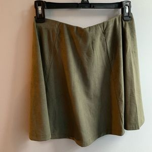 Army Green Faux Suede Skirt